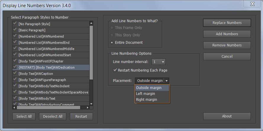 Screenshot of Line Numbers 3.4.0 Script