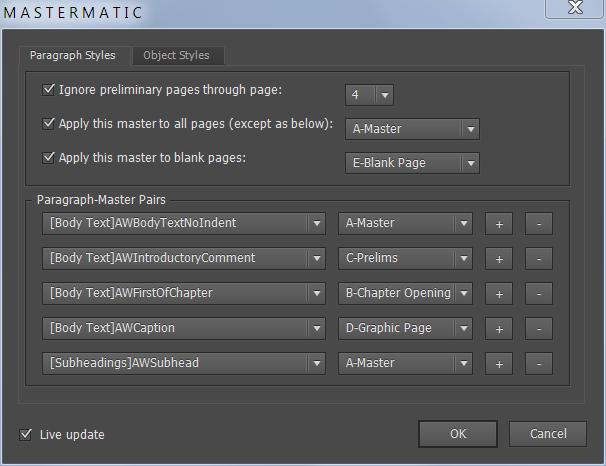 Screenshot of the Mastermatic Script